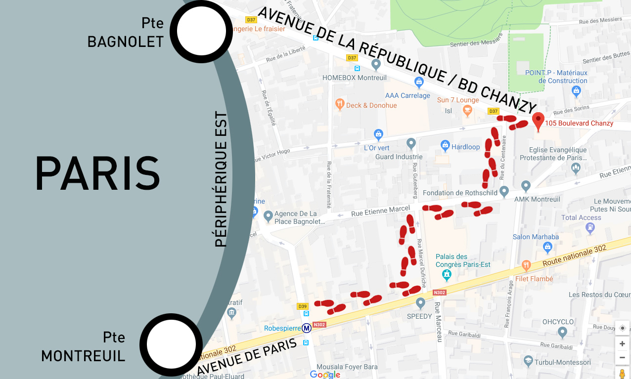 """Accès chez Point To Paper. Métro ligne 9 """"Robespierre"""" - Bus Ligne 102 """"Sorins"""""""